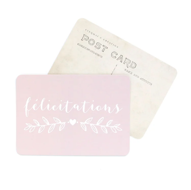 Carte FÉLICITATIONS rose